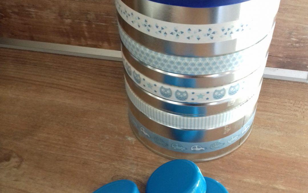 DIY boîte à formes 100% récup avec une boîte de lait en poudre