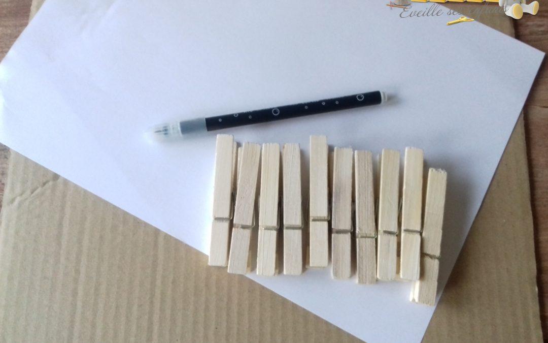 Atelier Numération minute : Feuille et pinces à linge