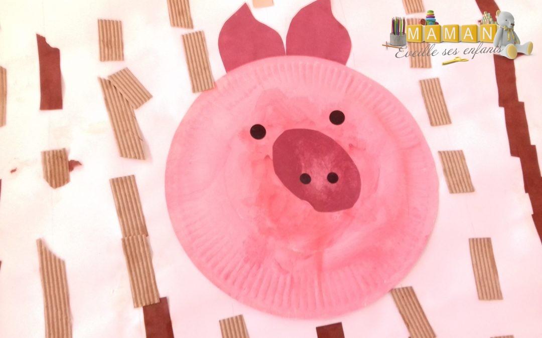 Les 3 petits cochons, bricolage sur le thème  : Un cochon dans sa maison en carton