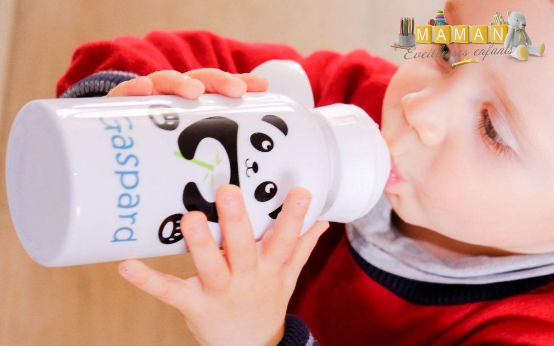 La gourde inox personnalisée  pour enfants A-qui-S  : un choix écolo, fun et unique