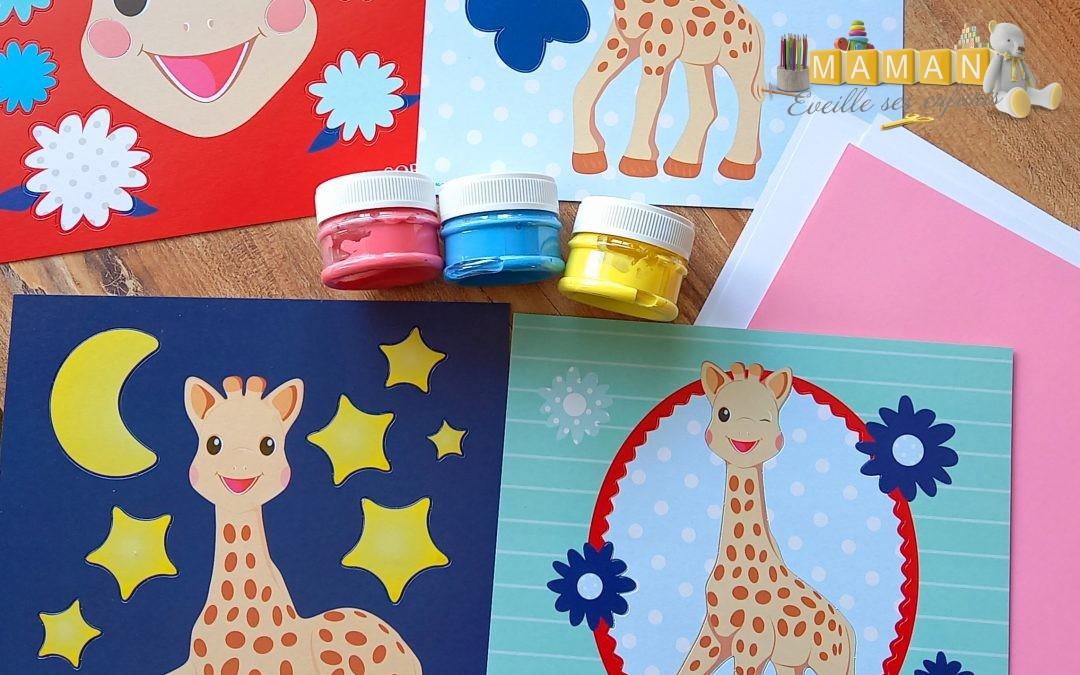 Sophie le girafe : cartes à peindre au doigt chez SES CREATIVE
